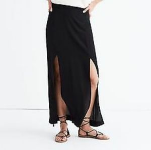 New Madewell 100% Silk Black Maxi Skirt